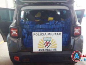 Os mais de 1,4 mil quilos de maconha apreendidos pela Polícia Militar nessa quinta-feira (24) em Amambai.