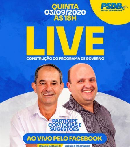 Dirceu Bettoni e Dr. Luciano realizam live para estruturação do Programa de Governo