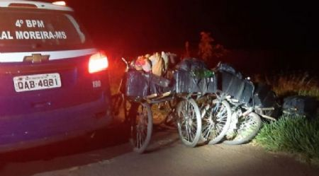 PM apreende bicicletas lotadas de maconha na fronteira