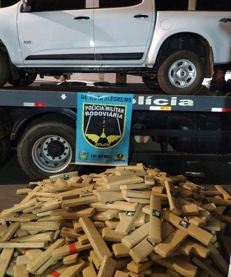Polícia apreende mais de uma tonelada de maconha, na MS-164, em Maracaju.