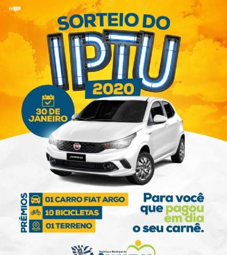 Sorteio do IPTU 2020 acontecerá no dia 30 de janeiro e será transmitido através de live