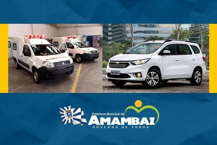 Prefeitura de Amambai recebe duas ambulâncias e Chevrolet Spin para uso do município