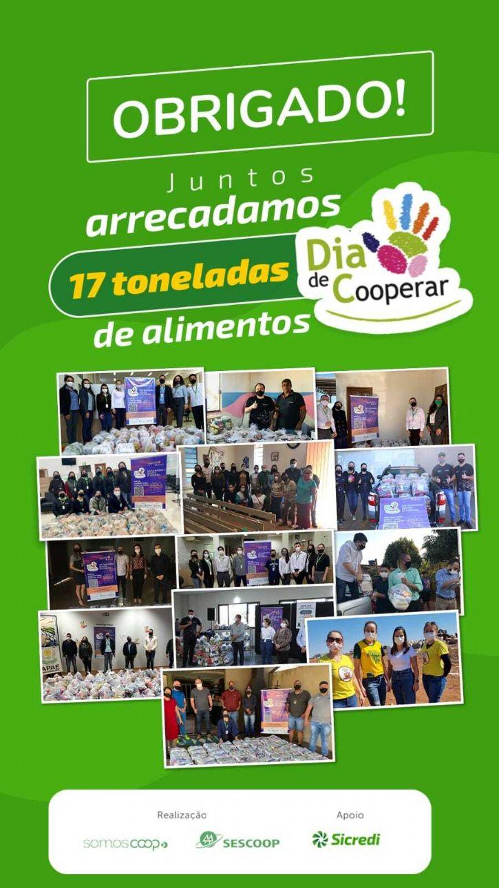 Sicredi Aral Moreira e seus associados doaram mais de 1,5 toneladas de alimentos em ação do Dia de Cooperar