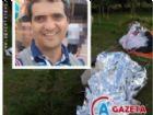 O paramotor no local da queda e o empresário Adilson Peres Ruiz. Ele morreu na hora.